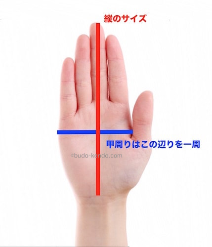 剣道の小手選びの際には手のひらのここのサイズを測る