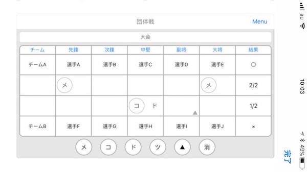 剣道のスマホアプリ「Cirport」による団体戦の記録画面